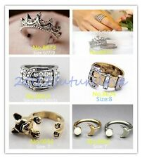 1pc Stylish Hollow Crown Belt Dog Moon Crystal Lady Party Finger Ring 6 Style
