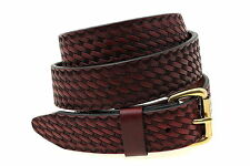 "1 1/2"" Men's Or Women's Burgundy Latigo Leather Belt With Basket Weave Embossing"