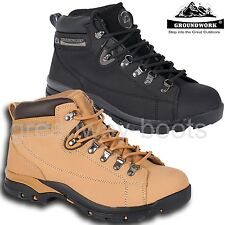 MENS GROUNDWORK LEATHER LADIES SAFETY STEEL TOE CAP WORK SHOES TRAINER BOOTS SZ