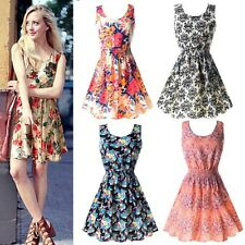 Sweet Womens Summer Dress Slim Floral Print Chiffon Short Beach Mini Dress S-XXL