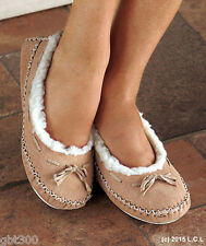 Women Suede Moccasins IN HAND Fur Lining M L Slippers Shoes In/Out Mocassins
