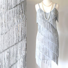 FLAPPER FRINGE 1920s SILVER GREAT GATSBY CHARLESTON SEQUIN PARTY LATIN DRESS M L