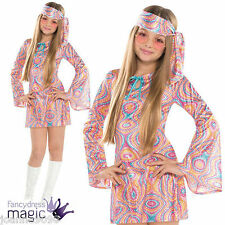 TEEN GIRLS SPARKLY DISCO DIVA 1970s 60s CND 70s HIPPY HIPPIE FANCY DRESS COSTUME