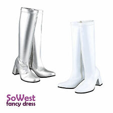 60s 70s FANCY DRESS GOGO PARTY WHITE + SILVER RETRO GOGO BOOTS Sizes 3 4 5 6 7 8