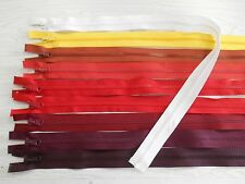 "Plastic separating zippers burgundy reds orange white 12"" - 34"" 3/item free ship"