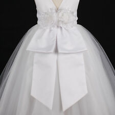 New White Communion Sash Wedding Flower Girl Dress Bow 12M 18M 24M 2 4 6 8 10 12