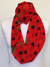 POPPIES INFINITY SCARF JERSEY & CHIFFON UNISEX PRINTED FASHION LOOP SCARVES