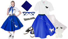 Hip Hop 50s Shop Womens 8pc Royal Blue Poodle Skirt Halloween Dance Costume Set