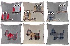 "OWL SCOTTIE DOG CUSHION COVERS WOOL CUSHIONS 18""x18"" RED BLUE GREY NATURAL"
