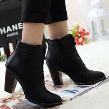 Womens Block Heels Ankle Knight Boots Solid Black Side Zipper Lace-up Shoes 1mg