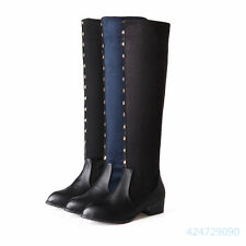 Women's Tip Med Heel Over The Knee Boots Shoes Pull On Comfort US All Size Y1124