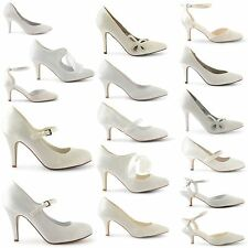 WOMENS LADIES KITTEN HEEL WEDDING BRIDAL ANKLE SLINGBACK COURT SANDALS SHOE SIZE