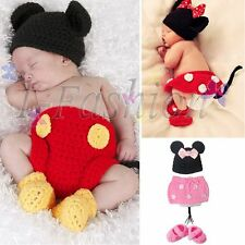 Crochet Newborn Girls Boys Costume Infant Knit Minnie Mouse Outfits Photo Props