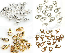 Wholesale 50/100X Silver Gold Copper Bronze Plated Lobster Clasp Hooks 12mm DIY