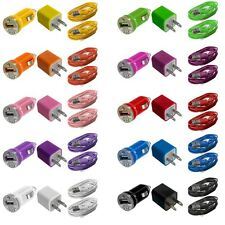 Wall AC Travel Charger + Car Charger + 2X USB Data Cable Cords for Cell Phones