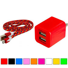 2 Port Fast Dual Wall Travel Charger+Micro USB 3FT 3 FT Rope Cable for Phones