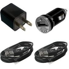 Black Car Home Travel Charger + Micro USB Data Sync Cable Cords For Cell Phones