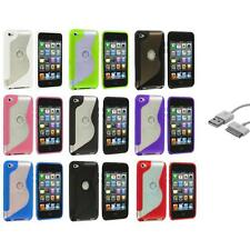 TPU S-Line Deluxe Rubber Cover Case+Sync Cable for iPod Touch 4th Gen 4G 4