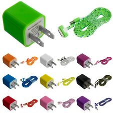 Noodle Rope Braided USB Sync Data Cable 6FT+AC Wall Travel Charger  for iPhone