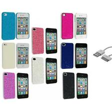 Glitter Bling Sparkly Ultra Thin Hard Back Cover+Sync Cable for iPhone 4 4G 4S