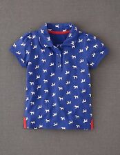 Mini Boden Girl's Brand New Pretty Printed Polo T-Shirt Navy Dogs 100% Cotton