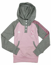 Adidas MLB Youth Girls Seattle Mariners Double Hitter Placket Hoodie - Pink