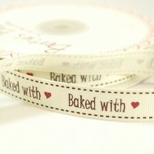 16mm Bertie's Bows Baked With Love Grosgrain Heart Craft Ribbon