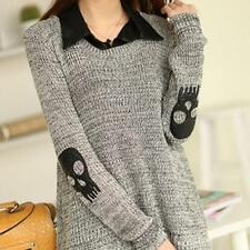 Hot Women Long Sleeve Skull Knitted Sweater Pullover Chiffon Blouse Shirts Tops