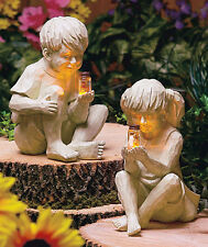 Kids BOY GIRL with Solar Lighted Firefly in Jar Outdoor Garden statue Yard Decor