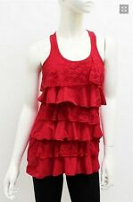 Womens Solid Floral Lace Tiered Racerback Ruffle Sleeveless Tank Top T0713