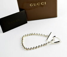 AUTHENTIC GUCCI Sterling Silver 925 Heart / Round Design Ball Chain Bracelets