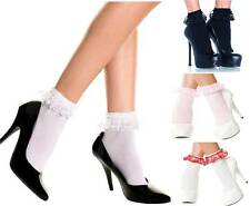 3 Pairs Frilly Ruffled Lace Trim Ankle High Nylon Socks Anklet Retro Pin-Up Girl