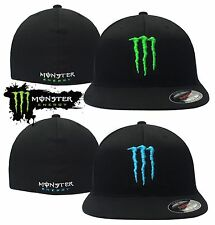 Flexfit By Yupoong Premium Flat Front Fitted Men's Monster Energy Drink Logo Hat