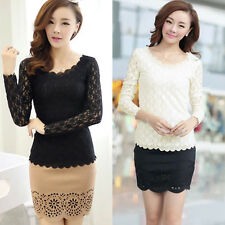 Hot Womens Ladies Fashion Lace Long Sleeve Slim Fit T-shirt Casual Blouse Tops