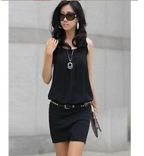 Elegant Womens OL Chiffon Pleated Sleeveless Bodycon Pencil Skirt Mini Dress ab