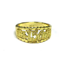 14K Gold Plated Detailed Ms.15 Anos Ring for Sweet Quinceanera size 7,8,9