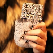 S*ACT 3D soft fur bling hard back case for Apple iphone 5 6 plus ladies girls