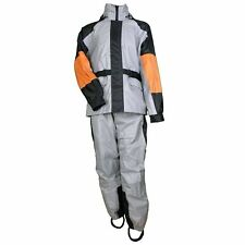 2PC MOTORCYCLE UNISEX RAIN SUIT GEAR w/ REFLECTIVE PIPING & HEAT SHIELDS - V7R
