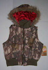 ROUTE 66 WOMEN'S JUNIORS GREEN CAMO HOODED VEST WITH FAUX FUR VARIOUS SIZES NWT!