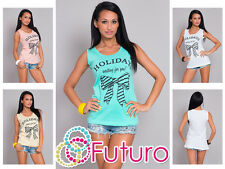 Ladies Casual Vest Top HOLIDAY Print Sleeveless Cotton T-Shirt Sizes 8-14 FB43