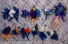 2PCS Corsage Boutonniere Royal Blue Flower with Ivory Purple Peach Orange Silver
