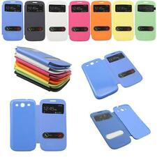 Flip Leather Front View Battery Back Cover Case for Samsung Galaxy S3 SIII i9300