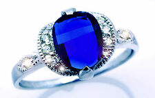 925 Sterling Silver Blue Sapphire Marquise Dome Solitaire CZ Ring with Accents