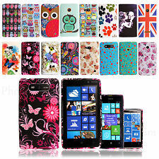 Printed Silicone Rubber Gel Case Cover For Nokia Lumia Phones Free Screen Guard
