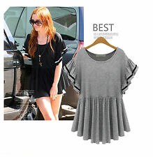 Casual XL-5XL New Plus SIZE Slim Short sleeve Pleated Loose T shirt Tops Blouse