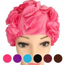 Adult Women Full Floral Vintage Swim/Bathing Cap Swimming Cap Flower Lady Pretty