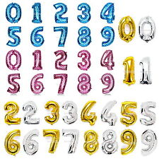 """Foil Balloon 16""""32""""40"""" Numbers Gold Silver Pink Blue 0-9 Birthday Party Wedding"""