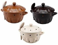 Wellberg WB-20111 Soup Bowl Set With Matching  Lid & Spoon Stoneware Bowl Set