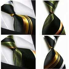 Men's 100% Silk Jacquard Woven Formal Stripes Necktie Casual Party Handmade Tie