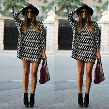 Womens Chiffon Loose 3/4 Sleeve Long Top Oversized Blouse T Shirt Dress